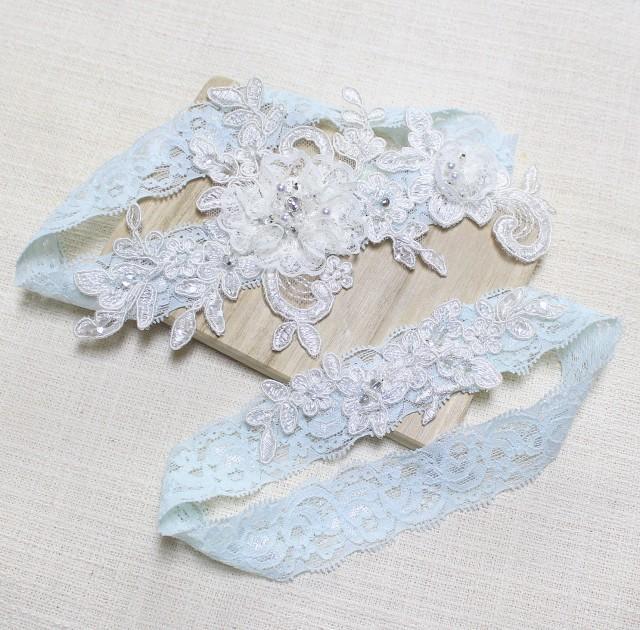 Garters Wedding: Lace Blue Garter Set, Wedding Garter Set, Bridal Lace