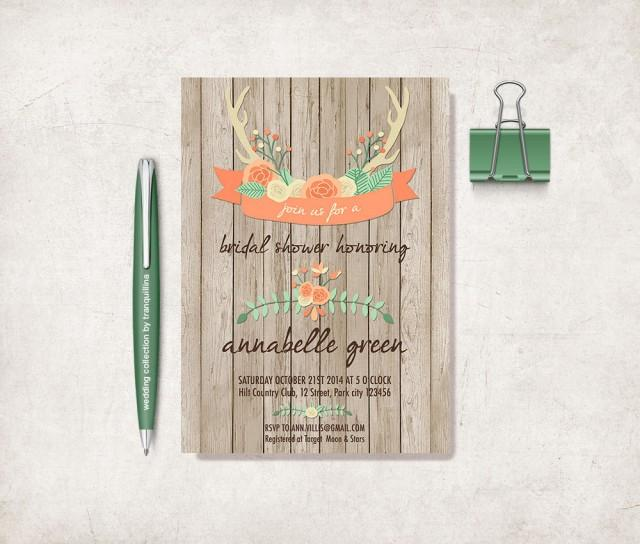 printable bridal shower invitation rustic bridal shower invitation deer antlers bridal shower invite woodland bridal shower invitation 2706830