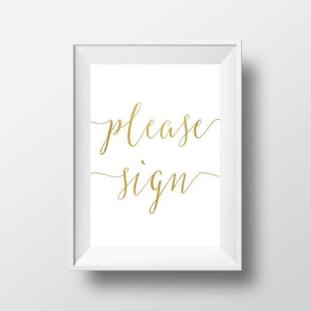 065bad5be54e0 Please Sign Our Guest Book, Wedding Signs, Gold Wedding Sign ...