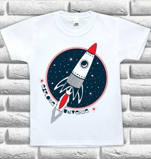 Kids Tshirt Printing Rocket Print Tshirt Printed Kids T