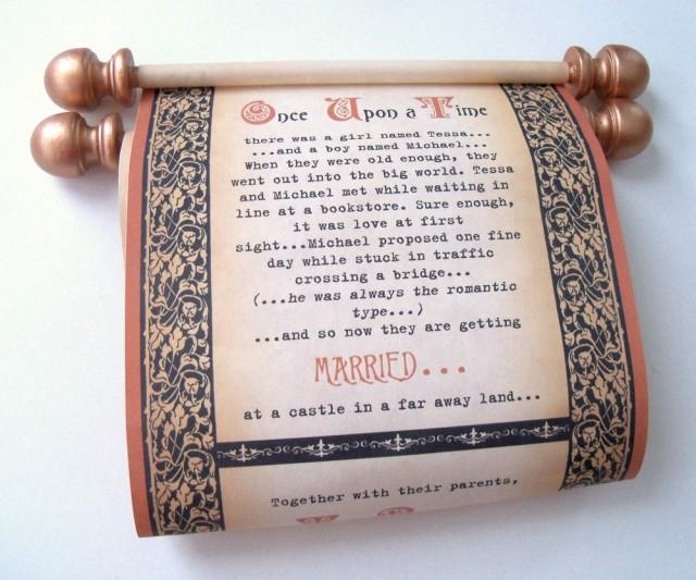 Medieval Wedding Invitation Wording: Copper And Black Wedding Invitation Scrolls, Medieval