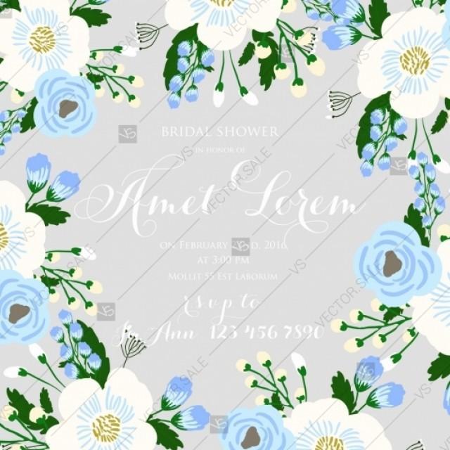 Wedding Invitation On Light Background With Blue Rose
