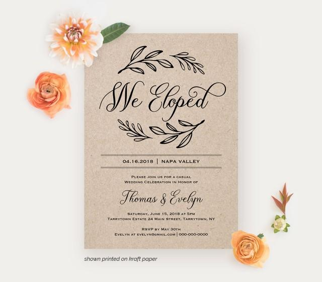 Invitation For Reception After The Wedding: We Eloped Reception Invitation Template, Printable