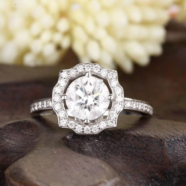 1ct Moissanite Engagement Ring Bridal Set Halo Solitaire Dainty