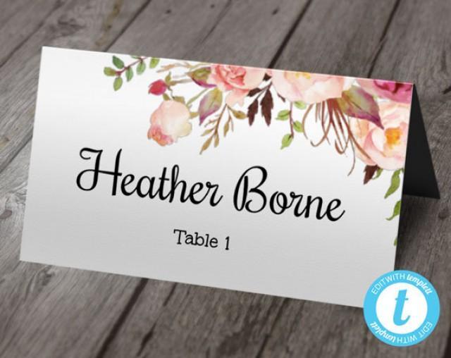 boho floral wedding place card template  escort cards