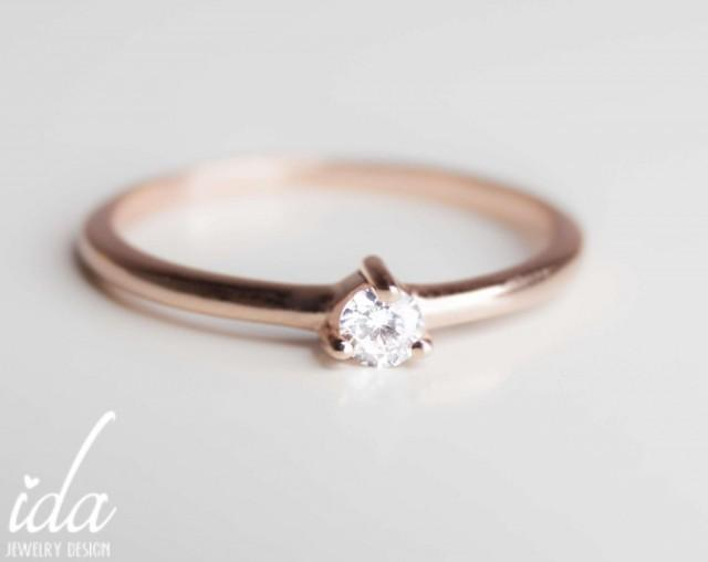 14k Rose Gold Engagement Ring Round Cut Solitaire
