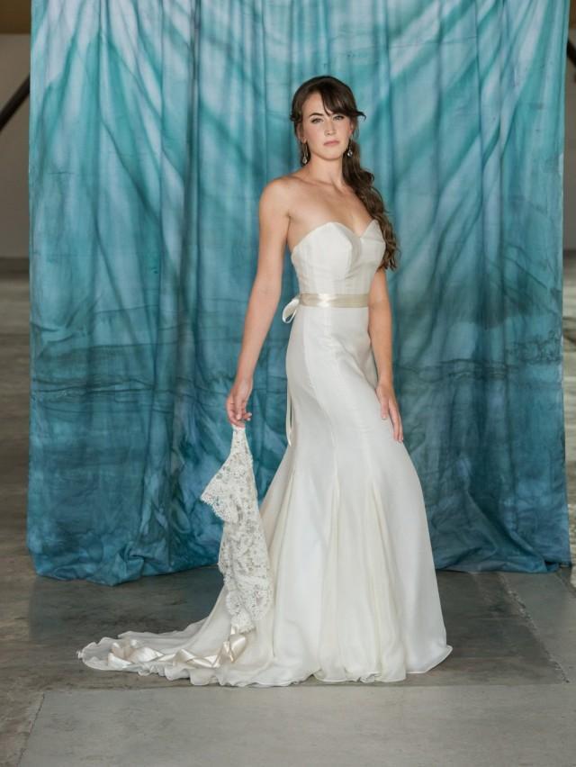 Simple Mermaid Wedding Dress, Chiffon Silk Wedding Dress, Strapless ...