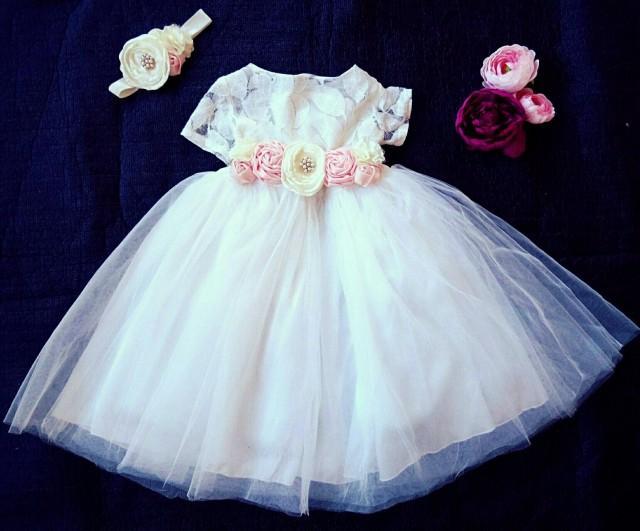 2a77fc3e09981 Soft White Lace Girls Short Sleeve Tulle Flower Girl Dress Baby ...