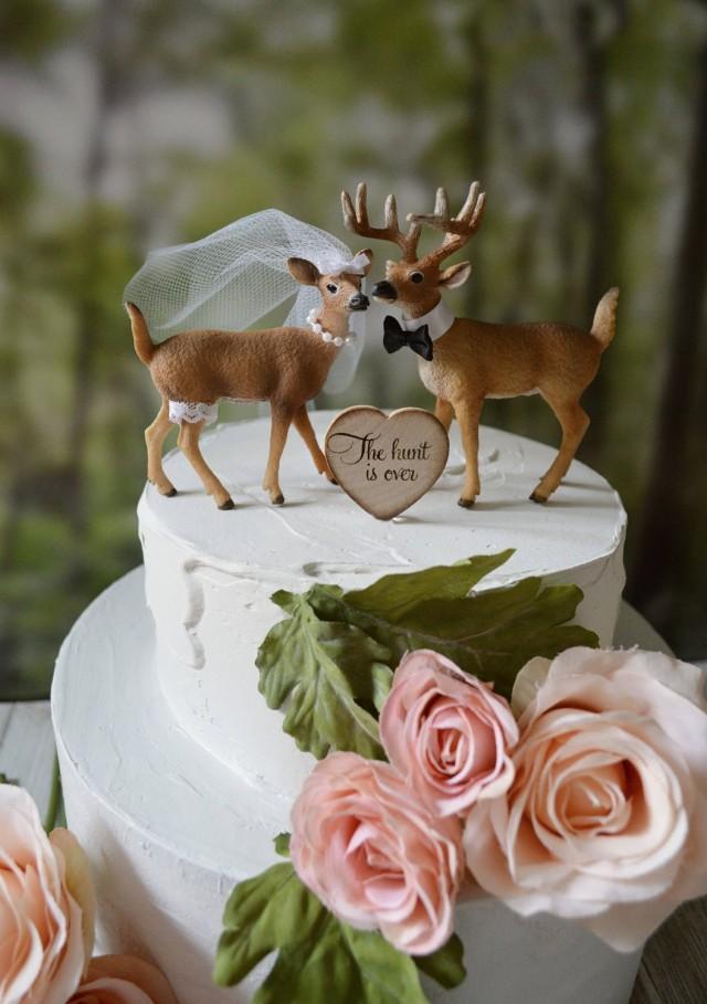 Wedding Cake Topper Deer Hunter Hunting Groom Buck Doe