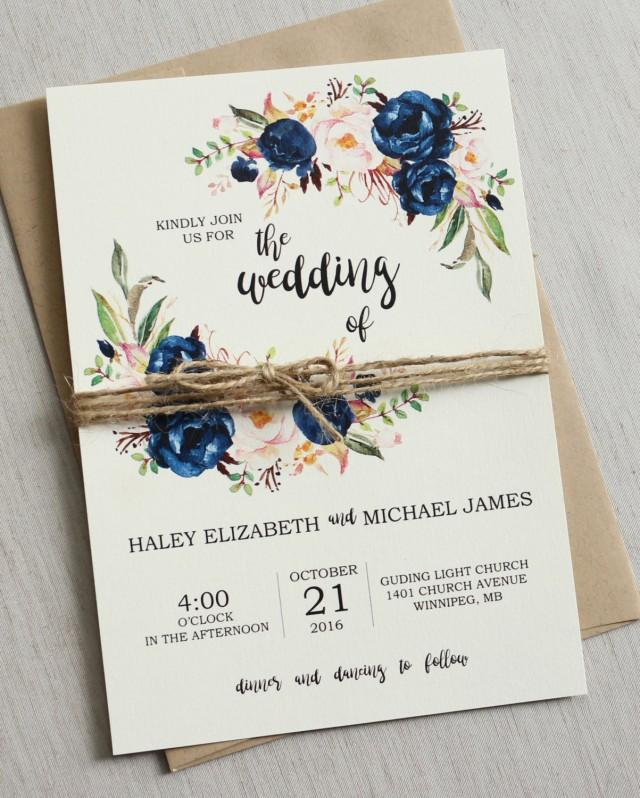 Rustic Wedding Invitation Ideas: Rustic Navy Wedding Invitation Printable, Modern, Bohemian