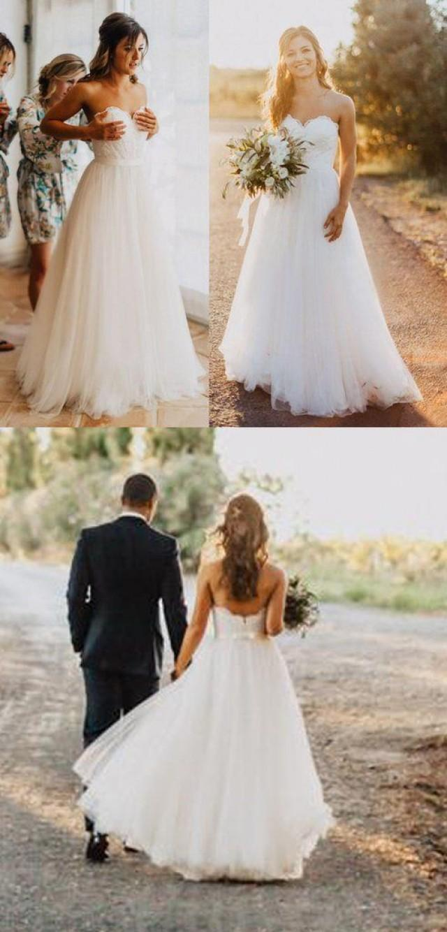 Elegant tulle beach wedding dresses 2017 sweetheart lace a for Cheap simple plus size wedding dresses