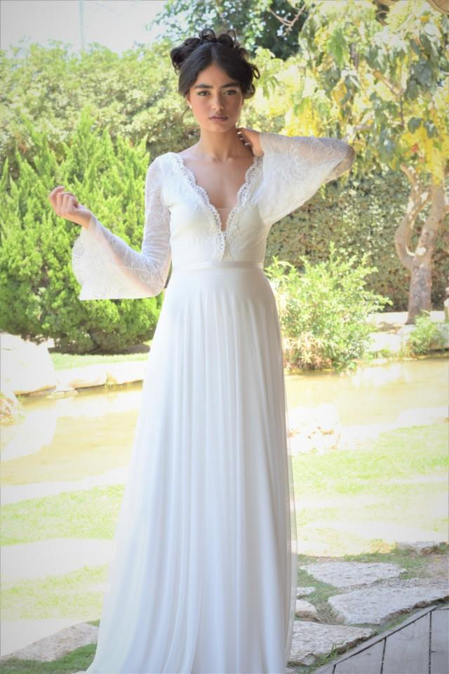 Ella Romantic Wedding Dress With Long Lace Sleeves And