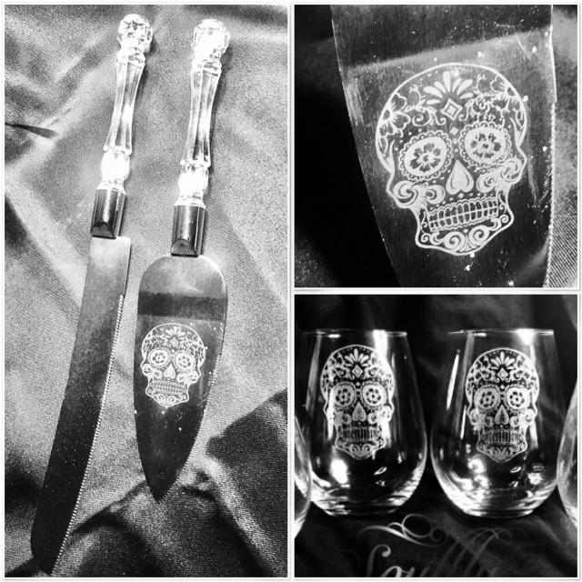 Sugar Skull Wedding Cake Server And Glass Set Day Of The Dead