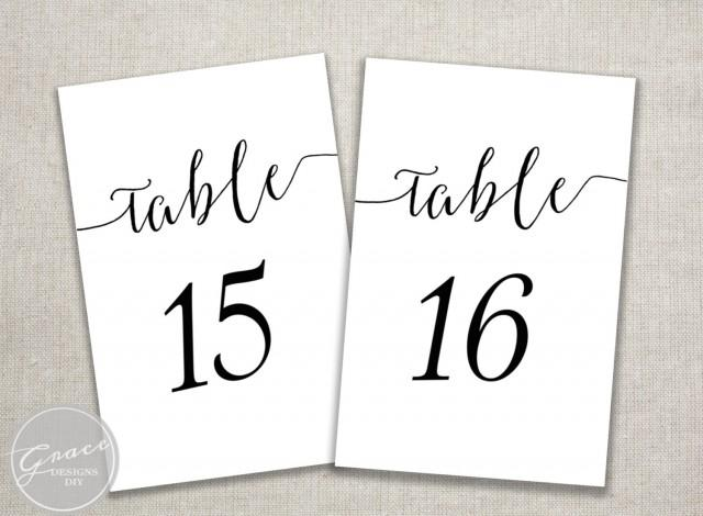 black slant table numbers printable calligraphy style script 4x6 cards instant digital. Black Bedroom Furniture Sets. Home Design Ideas