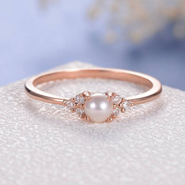 Pearl Wedding Ring: Mothers Day Birthday Gift White Akoya Pearl Engagement
