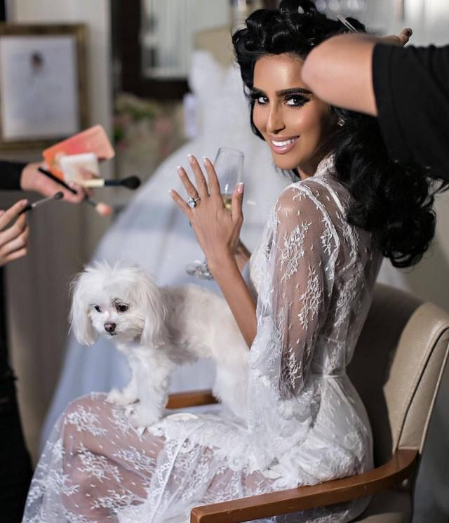 Bridal Robe To Get Ready In: Long Lace Bridal Robe For Bride To Be Getting Ready On