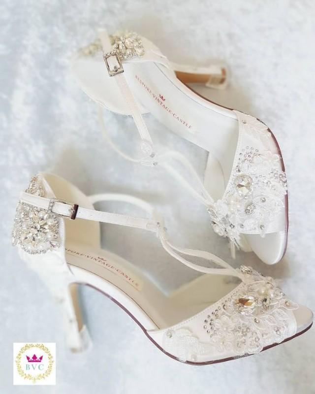 Bridal Shoes Peep Toe Shoes Vintage Shoesbridal Shoes Ivory Shoeswedding Bride Shoes