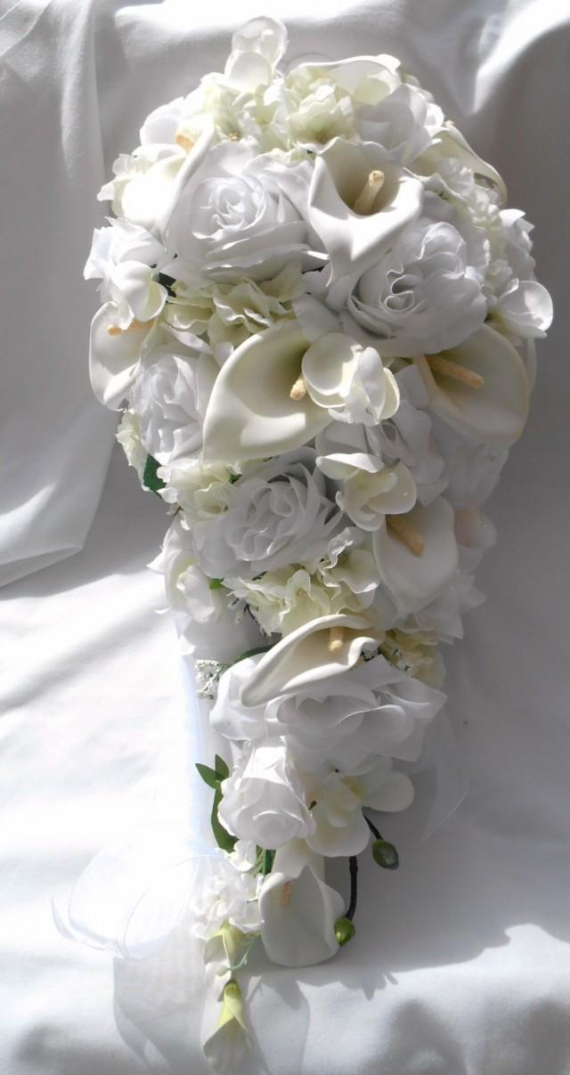 Silk Cascade Bridal Bouquet Made Of Callas Roses Orchids