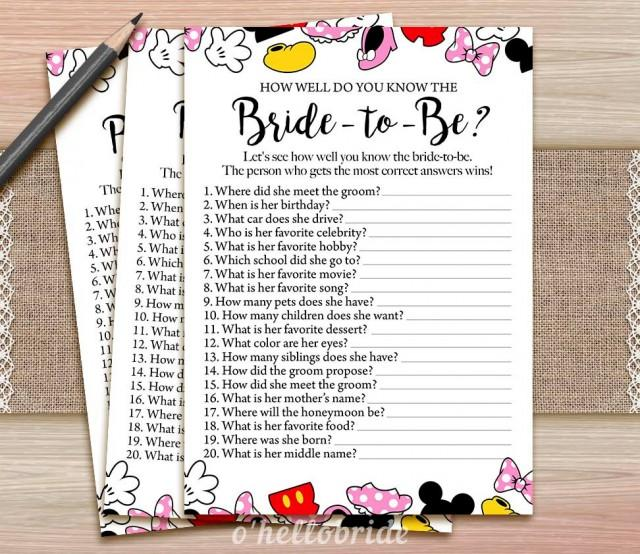 Disney Theme Bridal Shower How Well Do You Know The Bride