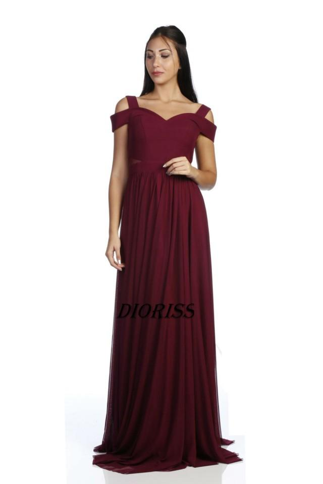 2017 Burgundy Chiffon Bridesmaid Dress Flutter Sleeves