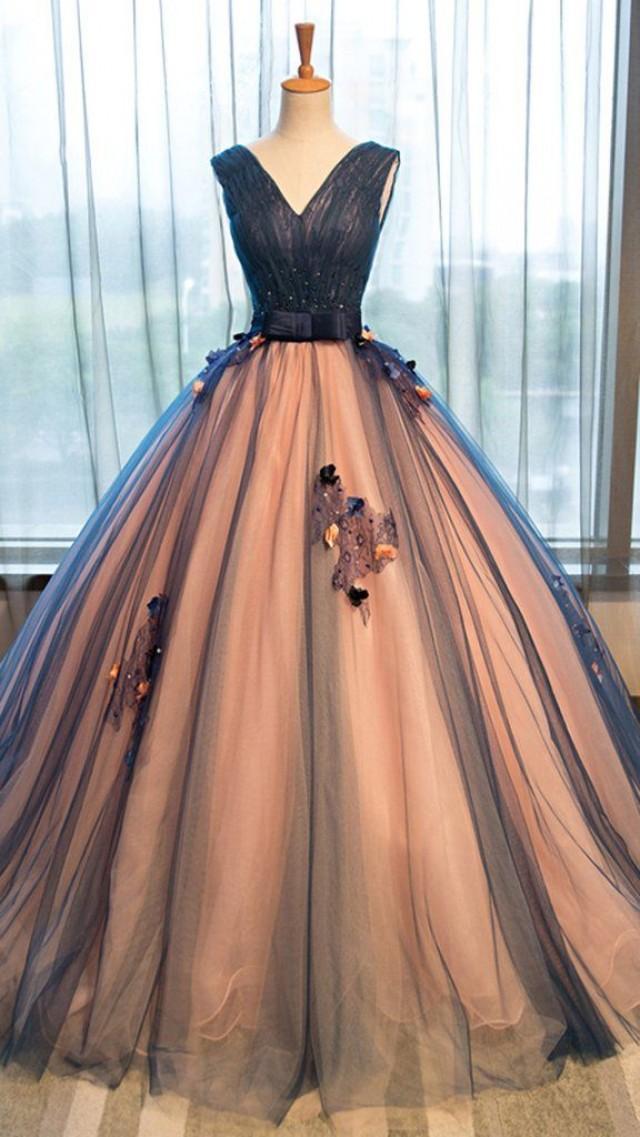 Pretty Tulle V Neck Applique A Line Long Evening Dresses