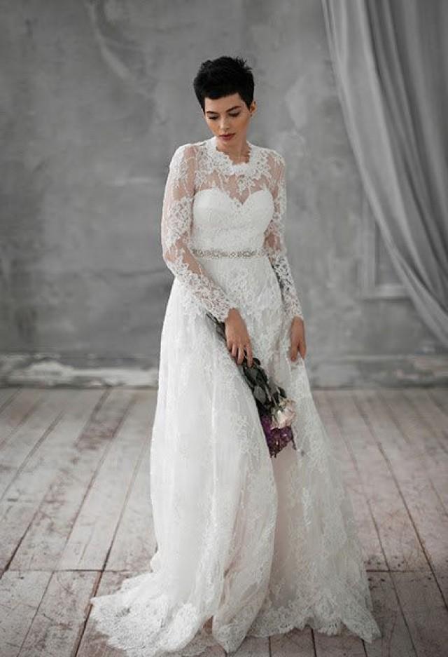 Kifi vintage long silk wedding dress viscose lace with for Long silk wedding dress