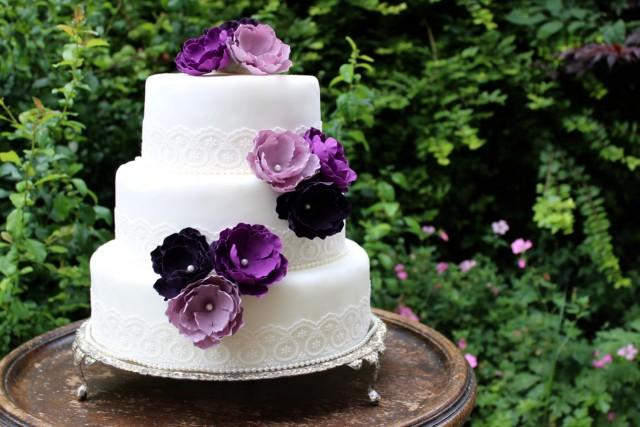 Purple Flower Wedding Cake Toppers
