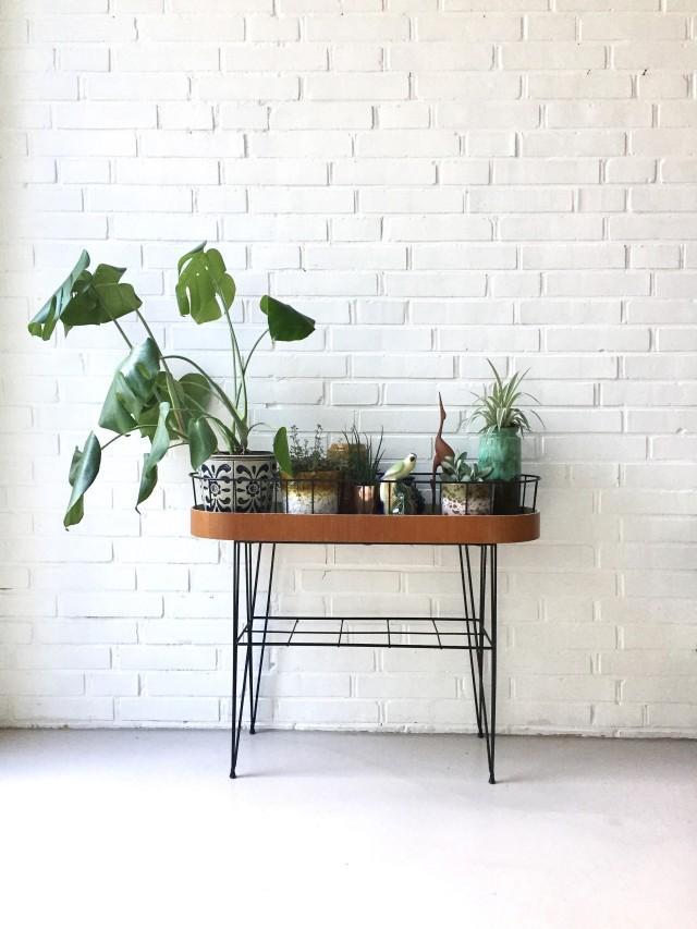 Vintage Plant Stand Flower Table Teak Flower Stool Retro