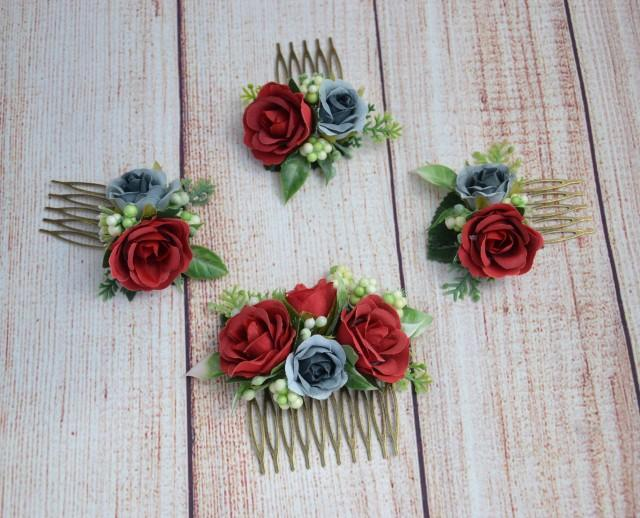 Red Rose Flower Comb Bridal Hair Comb Wedding Hair Piece Bridal