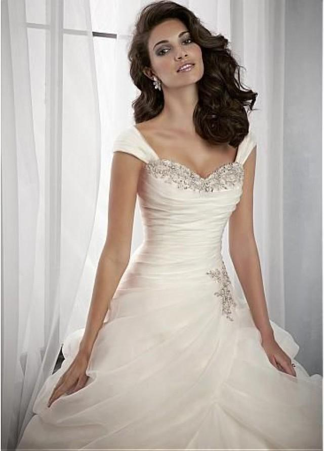 Glamorous organza satin sweetheart neckline for Sweetheart neckline drop waist wedding dress