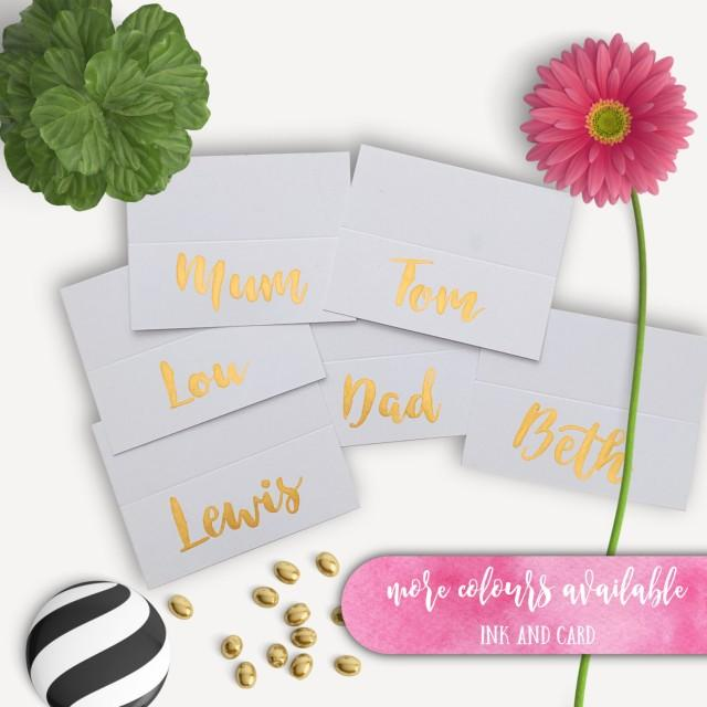 Gold Place Cards Brush Lettering Name Tents Hand Lettered Buffet