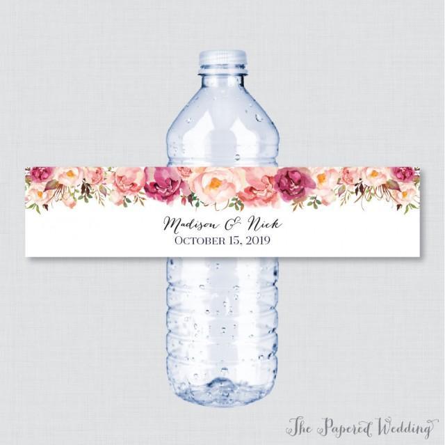 Water Bottle Flowers: Printable OR Printed Wedding Water Bottle Labels