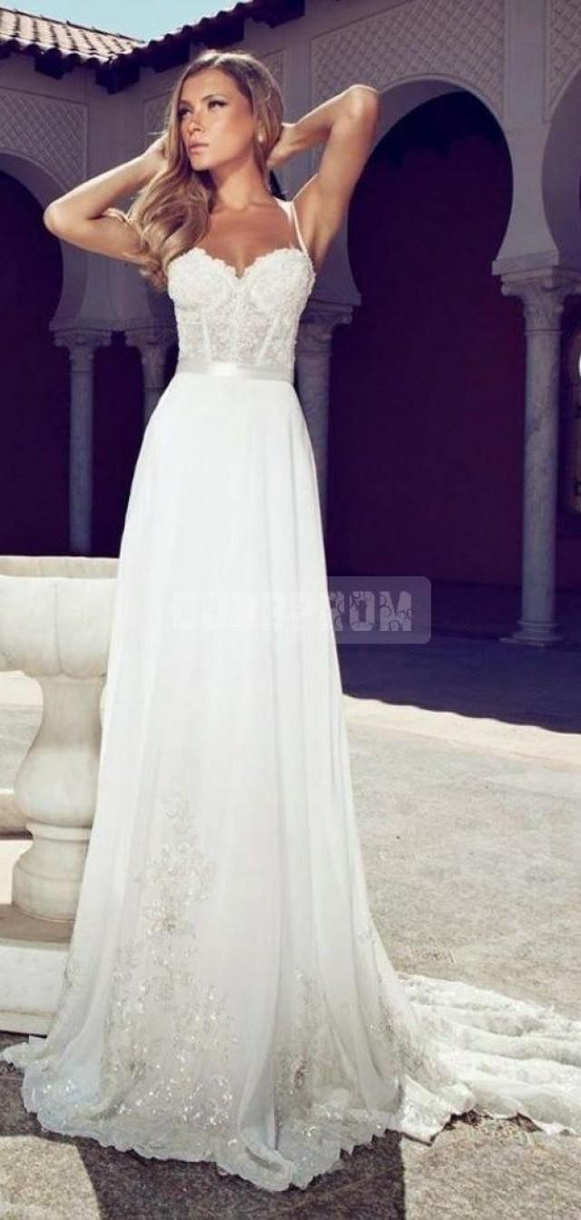 aline chiffon spaghetti straps corset lace bodice wedding