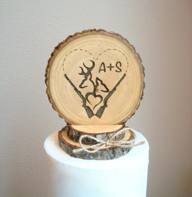 Wedding Cake Topper Rustic Rifles Hunting Heart Personalized ...