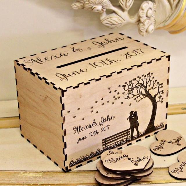 Wedding Card Box, Personalized Wedding Card Box, Rustic Wood Card ...
