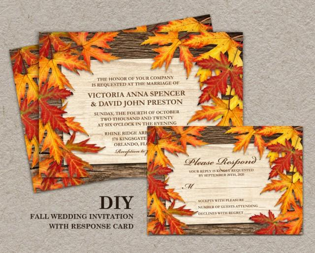 Diy Autumn Wedding Invitations: DIY Printable Fall Wedding Invitations And RSVP Cards With