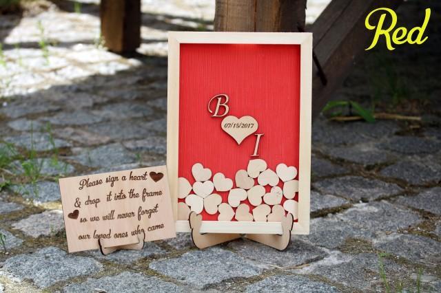 Red Wedding Sign Guest Book Alternative Wooden Heart
