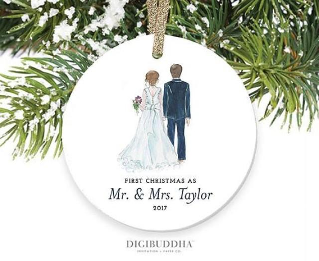 Bride & Groom Ornament First Christmas As Mr And Mrs ...