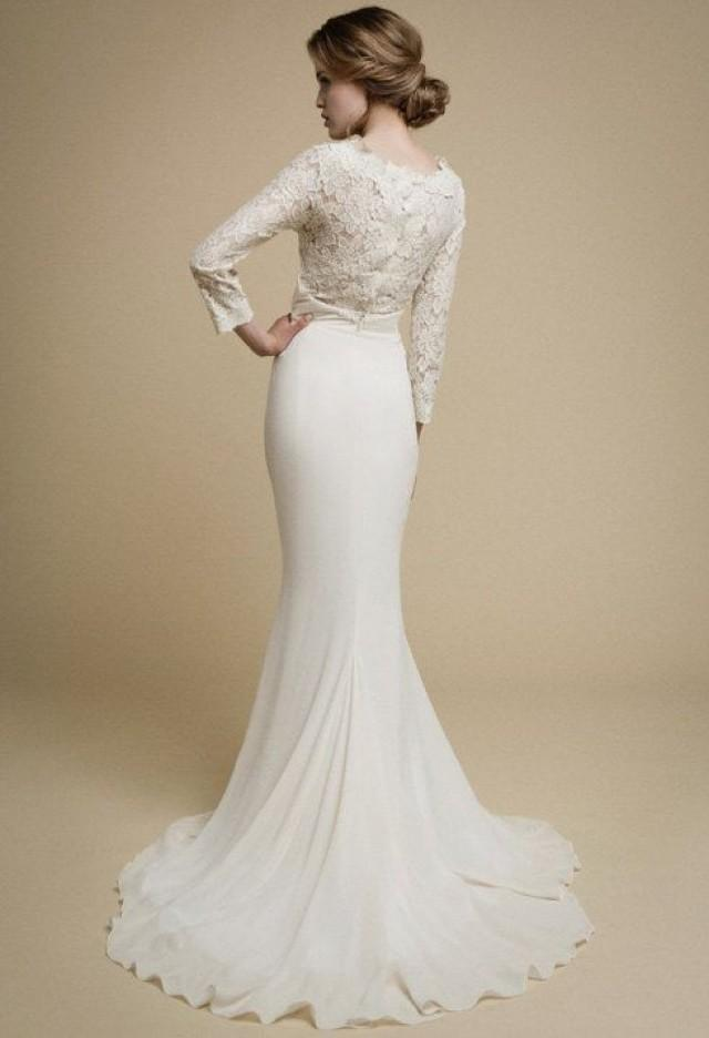 Apakena long sleeve wedding dress boho wedding dress lace for Modern long sleeve wedding dresses