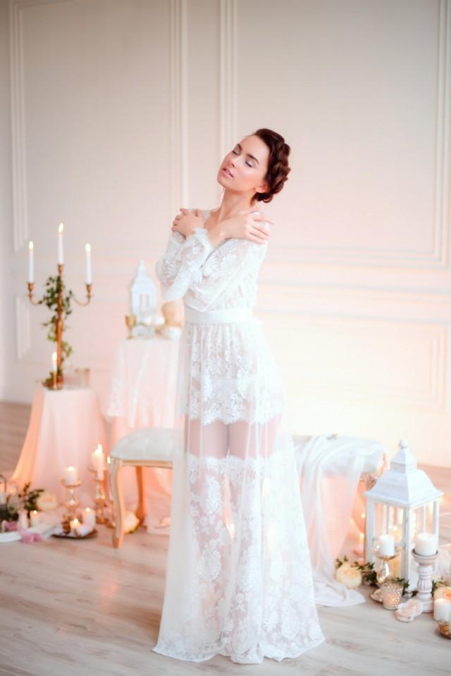 long lace bridal nightgown f18  bridal lingerie  wedding