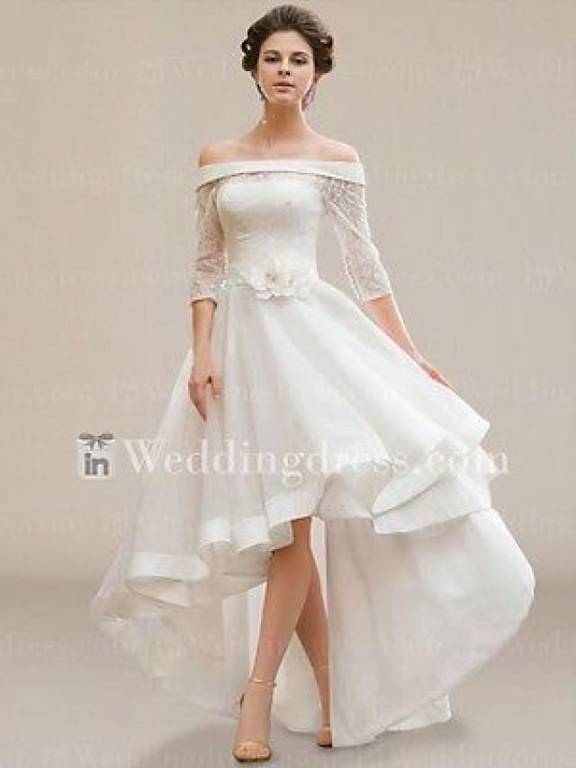 Ivory hi lo plus size wedding dress a line half sleeve off for Hi lo wedding dress