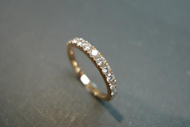0 54ct Diamond Wedding Band In 14k Rose Gold Diamond Ring