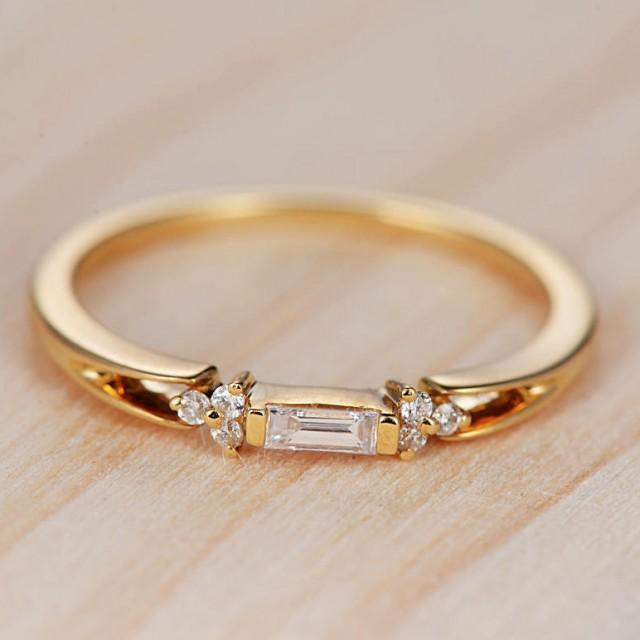 Baguette Diamond Engagement Ring Gold Wedding Band Stackable