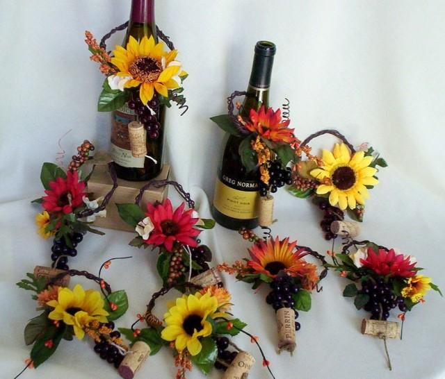Sunflower Bridal Centerpieces Wine Toppers AmoreBride
