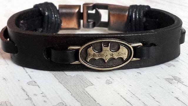 Batman Leather Bracelet, Handmade Leather Bracelet, Men's Birthday ...
