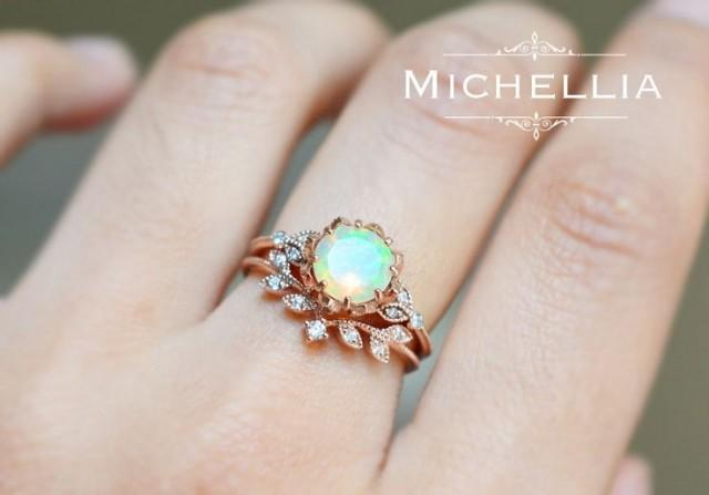 Moonstone Diamond Engagement Ring