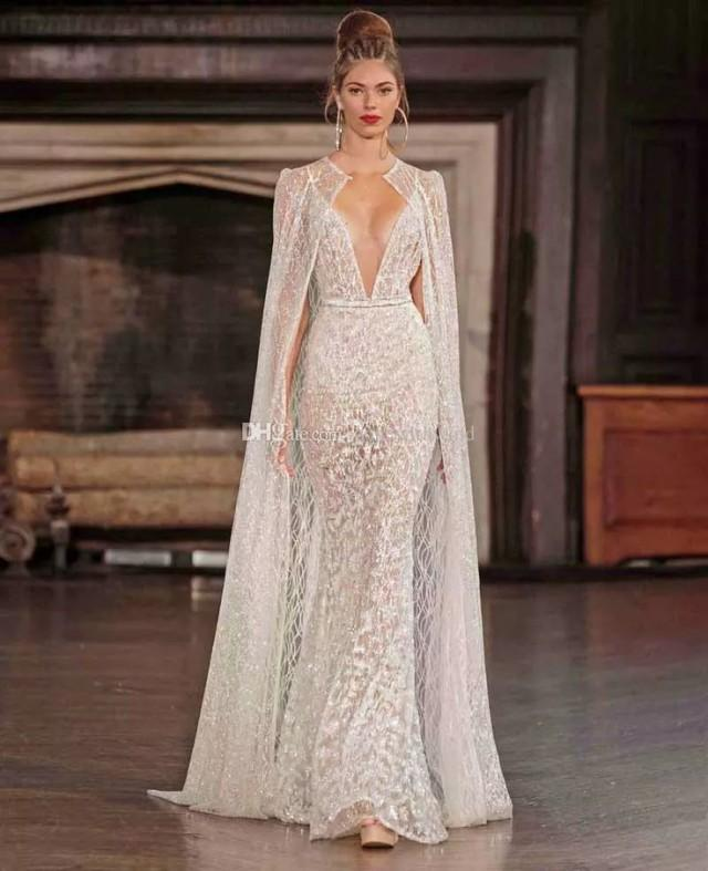 Real photo sexy wedding dresses with cape 2017 berta for Most sexy wedding dresses