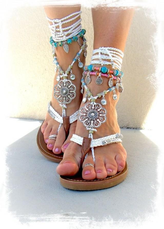 Silver Swirl Mandala WEDDING BAREFOOT Sandals Toe Anklet ...