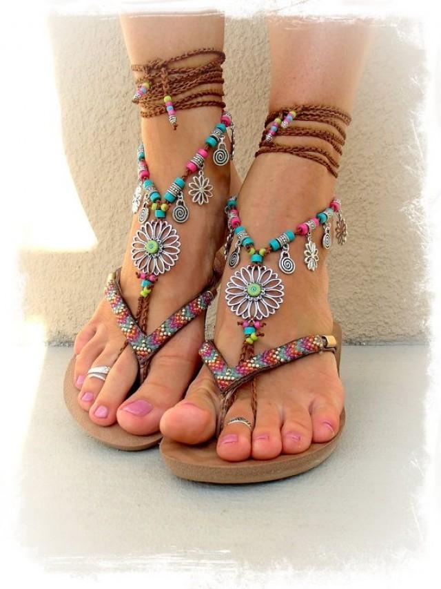For Sara Sunflower Barefoot Sandals Hippie Festival Wrap