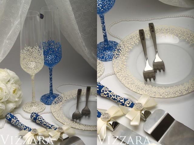 Wedding Cake Set Navy Blue Knife For Cake Server Champagne Flutes